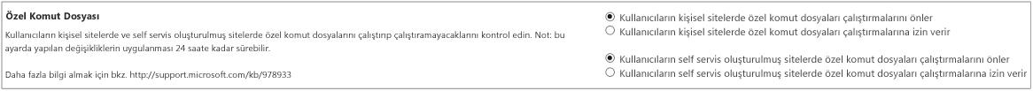 SharePoint yönetim merkezinde ayarlar sayfasının özel komut dosyası bölümü