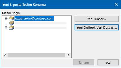 Outlook e-posta teslim konumu iletişim kutusu