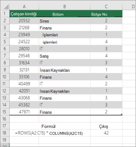 Aralıktaki hücrelerin sayısını saymak için satır ve sütun örneği
