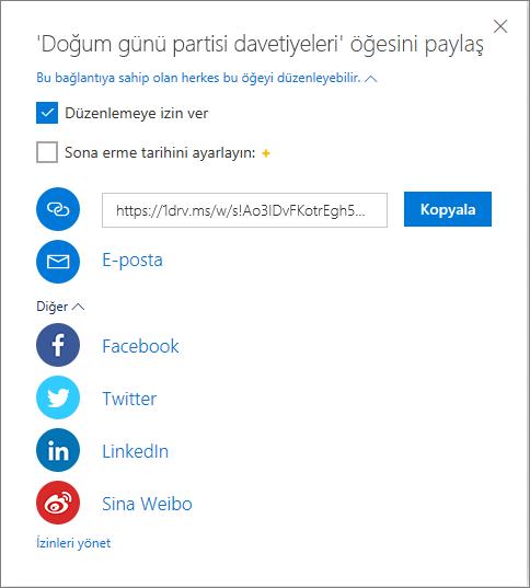 OneDrive Tümünü Paylaş Seçenekleri