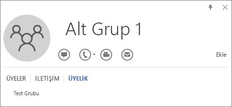 Alt Grup 1 adlı grubun, Test Grubu adlı grubun üyesi olduğunu gösteren Outlook kişi kartının Üyelik sekmesinin ekran görüntüsü.