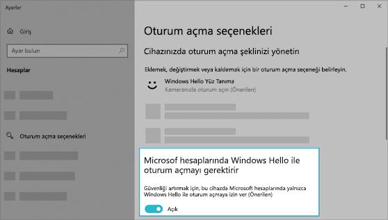 Microsoft hesaplarında oturum açmak için Windows Hello'yu kullanma seçeneği açık.