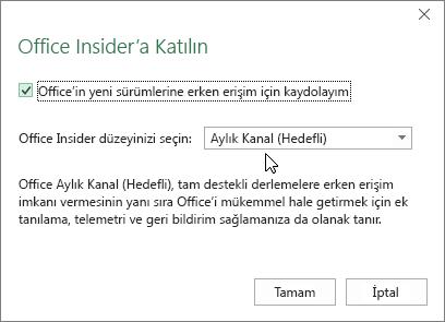 Aylık Kanal (Hedefli) düzeyi seçeneğinin bulunduğu Office Insider'a Katılma iletişim kutusu