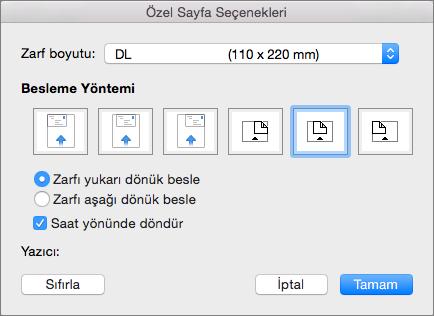 Özel Sayfa Seçenekleri'nde zarfı yazıcıya vermek için kullanılacak bir zarf boyutu ve yön seçin.