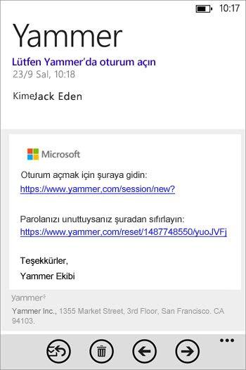 Kaydolma e-posta iletisi