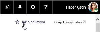Bir SharePoint sitesindeki Takip et düğmesinin ekran görüntüsü.