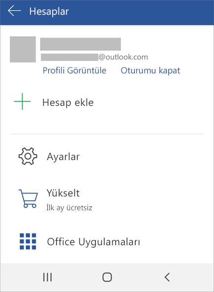 Android cihazda Office oturumu kapat seçeneğini gösterir