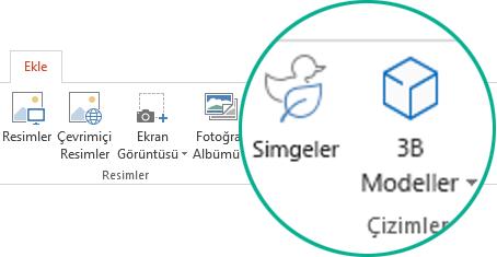 Office 365'te araç çubuğunu şeridinin Ekle sekmesindeki Simgeler ve 3B Modeller düğmeleri
