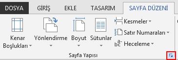 SAYFA DÜZENİ sekmesinde sağ alttaki Sayfa Yapısı simgesi, Sayfa Yapısı penceresini açar.
