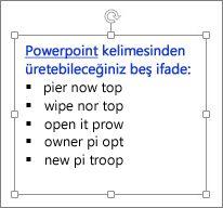 PowerPoint metin kutusunda biçimlendirme