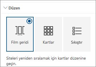 Siteler Web bölümü düzeni ayarları
