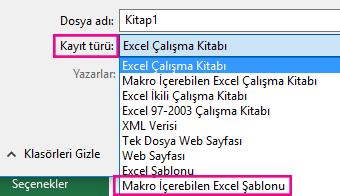 Excel makro içerebilen şablonu seçin.