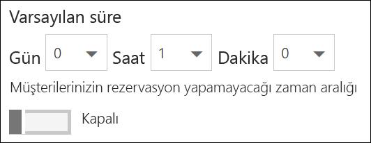 Ekran görüntüsü: hizmetin varsayılan süresini ayarlama