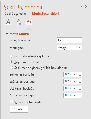 PowerPoint'te Şekil Biçimlendir > Metin Seçenekleri bölmesini gösterir