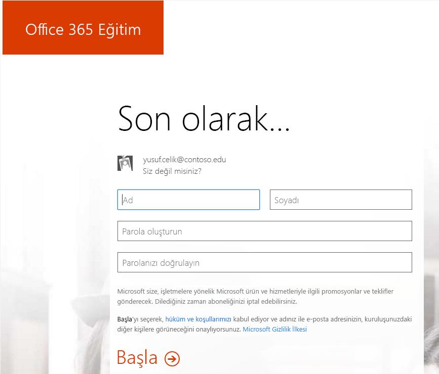 Office 365'e kaydol işleminin parola oluşturma sayfasının ekran görüntüsü.