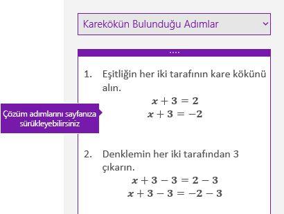 Matematik görev bölmesinde çözüm adımları