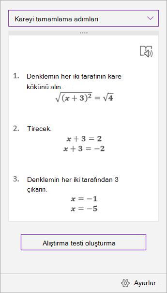 Matematik Yardımcısı görev bölmesindeki çözüm adımları