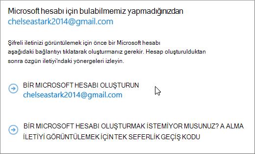 Microsoft hesabı oluştur