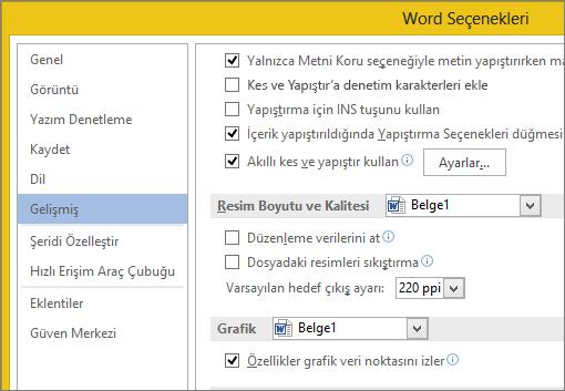 Word 'de görüntü boyutu ve kalite seçenekleri