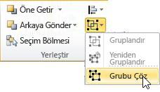 Grubu Çöz'ün seçili olduğu Grup listesi