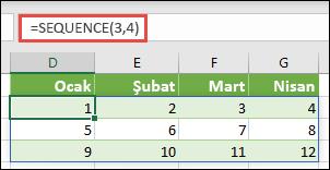 = SıRASıYLA 3 satır 3 sütunlu bir satır sabiti oluşturma (3, 4)