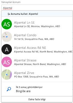 Önerilen konumlar Bing sunulur