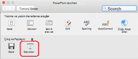 PowerPoint Tercihleri iletişim kutusunda, Çıkış ve Paylaşım altında Slayt Gösterisi'ne tıklayın.