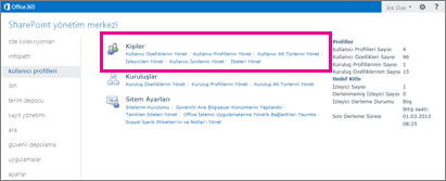 SharePoint Online Yönetim Merkezi'nin ekran görüntüsü; kullanıcı profilleri sayfası seçili.