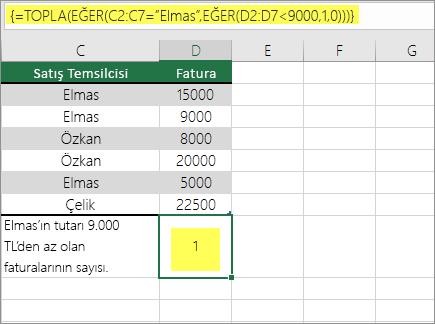 Örnek 3: TOPLA ve EĞER bir formülde iç içe