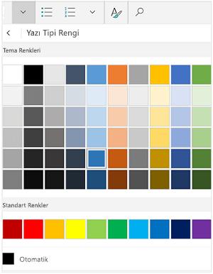 Yazı tipi renkleri