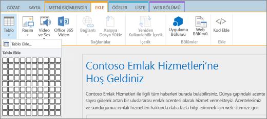 Ekran görüntüsünde SharePoint Online şeridi gösterilir. Yeni tablonun satır ve sütun sayılarını belirlemek için Sekme ekle'yi ve sonra Tablo Ekle'yi seçin.