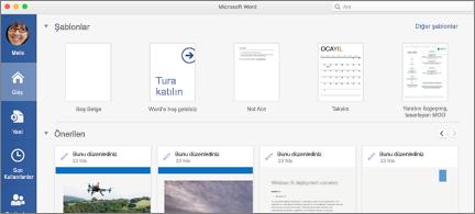 Word 'de önerilen dosyaları gösteren giriş sayfası