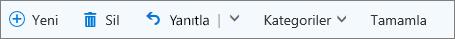 Bayrak eklenmiş öğeler ve görevler listesindeki etiketlenmiş e-posta için Outlook.com komut çubuğu