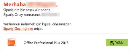 Evde Kullanım Programı'ndaki e-postada bulunan Yükle düğmesini gösterir