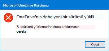 OneDrive hata açılır
