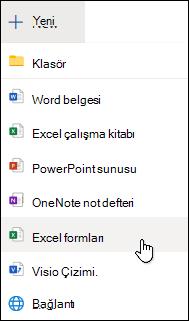 Excel Online'daki Excel için Form Ekle seçeneği