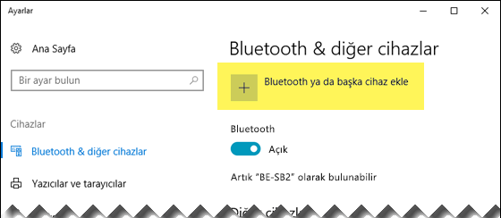 Bluetooth cihazı ekleme