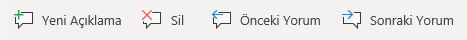 Windows Mobile açıklama düğmeleri: Yeni açıklama oluşturma, silme geçerli açıklama, önceki açıklamaya git ve sonraki açıklamaya git