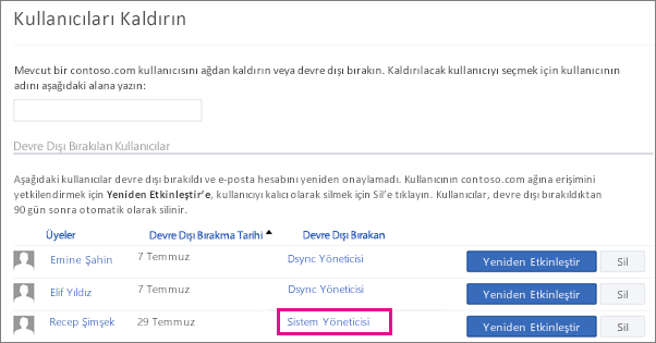 Kullanıcının Sistem Yöneticisi tarafından kaldırıldığını gösteren ekran görüntüsü.