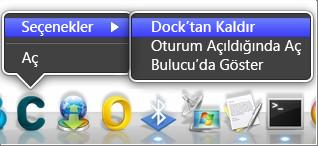 Seçenekler > dock'tan Kaldır