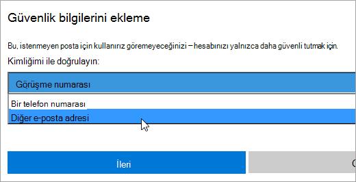 Güvenlik bilgilerini Ekle iletişim kutusunun ekran görüntüsü.
