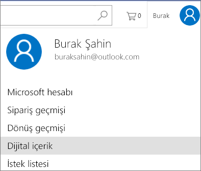 Microsoftstore.com adresinde Dijital İçerik bağlantısını yükleyin.