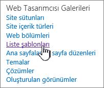Site ayarları sayfasında liste şablonları bağlantısı