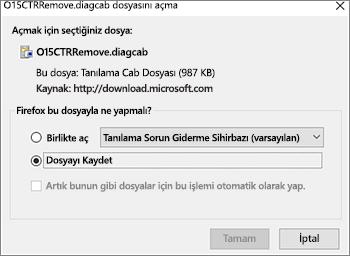 O15CTRRemove.diagcab dosyasını Firefox'ta kaydetme