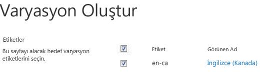 İçerik güncelleştirmelerini alması gereken değişim sitelerini gösteren, onay kutularının olduğu ekran görüntüsü. Değişim etiketlerini ve karşılık gelen görünen adlarını içerir