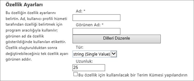 Yönetici kullanıcı profilinizdeki altında özellik ayarları