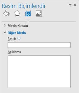 Boş Alternatif Metin ve Açıklama alanları olan Resmi Biçimlendir İletişim kutusunu gösteren Outlook kullanıcı arabiriminin ekran kırpması.