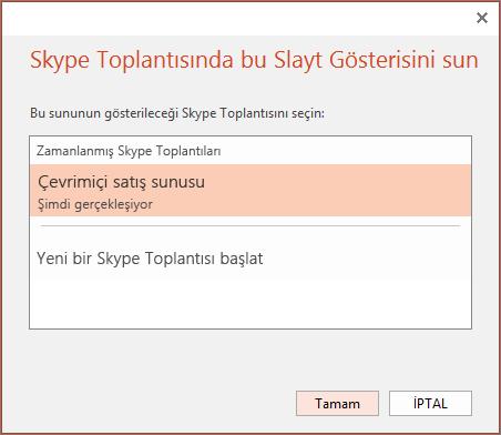 PowerPoint'te çevrimiçi sunum yapma iletişim kutusunu gösterir
