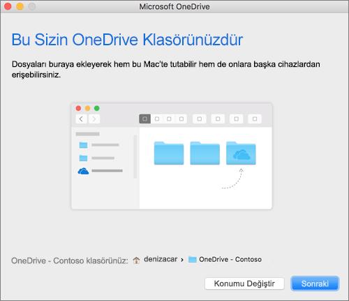 Mac'teki OneDrive'a Hoş geldiniz sihirbazında, Bu Sizin OneDrive Klasörünüz ekranının bir klasör seçildikten sonraki ekran görüntüsü