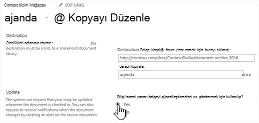 Bilgi isteminde yazarı belgeyi işaretlendiğinde güncelleştirme göndermesi Evet'i tıklatın bölüm